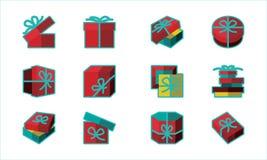 Progettazione di vettore del modello dell'insieme del contenitore di regalo illustrazione di stock