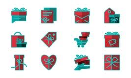 Progettazione di vettore del modello dell'insieme del contenitore di regalo illustrazione vettoriale