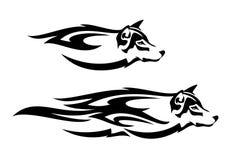 Progettazione di vettore del nero di spirito del lupo illustrazione di stock