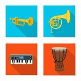 Progettazione di vettore del segno di aria e di musica Raccolta di musica e del simbolo di riserva dello strumento per il web royalty illustrazione gratis