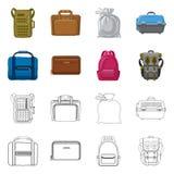 Progettazione di vettore del segno del bagaglio e della valigia Insieme dell'icona di vettore di viaggio e della valigia per le a illustrazione vettoriale