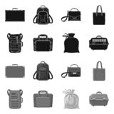 Progettazione di vettore del segno del bagaglio e della valigia Insieme del simbolo di riserva di viaggio e della valigia per il  illustrazione di stock