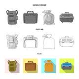 Progettazione di vettore del segno del bagaglio e della valigia Insieme del simbolo di riserva di viaggio e della valigia per il  royalty illustrazione gratis