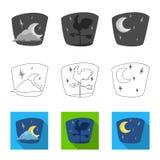 Progettazione di vettore del segno di clima e del tempo Raccolta dell'icona di vettore della nuvola e del tempo per le azione illustrazione di stock