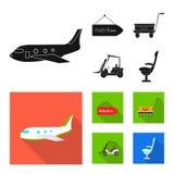 Progettazione di vettore del segno dell'aeroplano e dell'aeroporto Raccolta dell'aeroporto ed icona di vettore piano per le azion illustrazione di stock