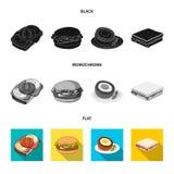 Progettazione di vettore del segno dell'involucro e del panino Metta dell'icona di vettore del pranzo e del panino per le azione illustrazione di stock