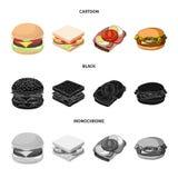 Progettazione di vettore del segno dell'involucro e del panino Metta del simbolo di riserva del pranzo e del panino per il web illustrazione di stock