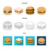 Progettazione di vettore del segno dell'involucro e del panino Raccolta del simbolo di riserva del pranzo e del panino per il web royalty illustrazione gratis