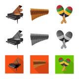 Progettazione di vettore del simbolo di aria e di musica Raccolta di musica e del simbolo di riserva dello strumento per il web illustrazione di stock