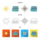 Progettazione di vettore del simbolo di clima e del tempo Insieme dell'illustrazione di riserva di vettore della nuvola e del tem royalty illustrazione gratis