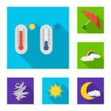 Progettazione di vettore del simbolo di clima e del tempo Raccolta dell'icona di vettore della nuvola e del tempo per le azione illustrazione vettoriale