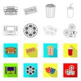 Progettazione di vettore del simbolo di contaminazione e della televisione Raccolta della televisione ed icona d'esame di vettore illustrazione di stock