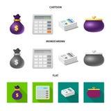 Progettazione di vettore del simbolo dei soldi e della banca Raccolta dell'icona di vettore della fattura e della banca per le az illustrazione di stock