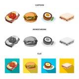 Progettazione di vettore del simbolo dell'involucro e del panino Raccolta dell'icona di vettore del pranzo e del panino per le az royalty illustrazione gratis