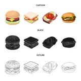 Progettazione di vettore del simbolo dell'involucro e del panino Raccolta dell'icona di vettore del pranzo e del panino per le az illustrazione vettoriale