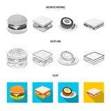 Progettazione di vettore del simbolo dell'involucro e del panino Raccolta dell'icona di vettore del pranzo e del panino per le az illustrazione di stock
