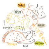 Progettazione di vettore dell'alimento del profilo illustrazione di stock