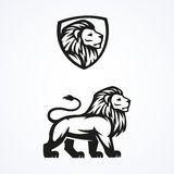 Progettazione di vettore dell'emblema della mascotte di sport di logo del leone Fotografia Stock Libera da Diritti
