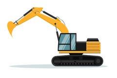 Progettazione di vettore dell'escavatore di Caterpillar Macchinario pesante illustrazione di stock