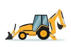 Progettazione di vettore dell'escavatore a cucchiaia rovescia Macchinario pesante royalty illustrazione gratis