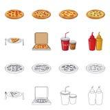 Progettazione di vettore dell'icona dell'alimento e della pizza Raccolta di pizza e dell'illustrazione di riserva di vettore dell illustrazione di stock