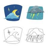 Progettazione di vettore dell'icona di clima e del tempo Insieme dell'illustrazione di riserva di vettore della nuvola e del temp illustrazione vettoriale