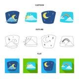 Progettazione di vettore dell'icona di clima e del tempo Raccolta dell'icona di vettore della nuvola e del tempo per le azione illustrazione di stock