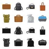 Progettazione di vettore dell'icona del bagaglio e della valigia Insieme dell'icona di vettore di viaggio e della valigia per le  royalty illustrazione gratis