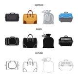 Progettazione di vettore dell'icona del bagaglio e della valigia Raccolta dell'icona di vettore di viaggio e della valigia per le illustrazione vettoriale