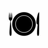 Progettazione di vettore dell'icona del coltello e del piatto della forcella Fotografia Stock