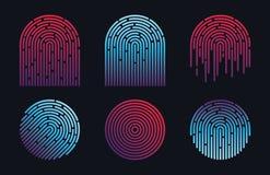 Progettazione di vettore dell'impronta digitale di identificazione Fotografie Stock