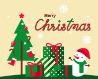 Progettazione di vettore della cartolina d'auguri di Natale con l'uomo sveglio della neve Fotografie Stock Libere da Diritti