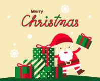 Progettazione di vettore della cartolina d'auguri di Natale con Santa Claus sveglia e Fotografie Stock