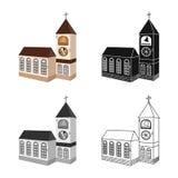 Progettazione di vettore della chiesa e del segno cattolico Raccolta della chiesa ed icona di vettore di religione per le azione illustrazione di stock