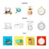 Progettazione di vettore delle merci e del logo del carico Insieme delle merci e dell'illustrazione di riserva di vettore del mag illustrazione di stock