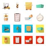 Progettazione di vettore delle merci e dell'icona del carico Insieme delle merci ed icona di vettore del magazzino per le azione illustrazione di stock