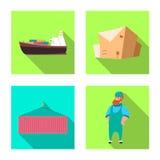 Progettazione di vettore delle merci e dell'icona del carico Insieme delle merci e dell'illustrazione di riserva di vettore del m illustrazione di stock