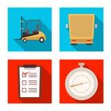 Progettazione di vettore delle merci e dell'icona del carico Insieme delle merci e del simbolo di riserva del magazzino per il we illustrazione di stock