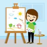 Progettazione di vettore di Drawing Cute Cartoon dell'artista del ragazzo Fotografia Stock Libera da Diritti