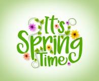 Progettazione di vettore di tempo di primavera con gli elementi freschi realistici delle piante 3D e dei fiori illustrazione vettoriale