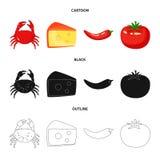 Progettazione di vettore di gusto e del segno del prodotto Raccolta di gusto e di cottura del simbolo di riserva per il web illustrazione di stock