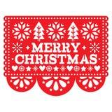 Progettazione di vettore di Papel Picado di Buon Natale, modello della decorazione della cartolina d'auguri di natale del messica royalty illustrazione gratis