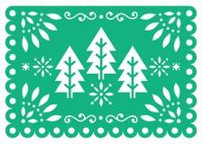 Progettazione di vettore di Papel Picado di Natale con gli alberi di natale, il PA verde e bianco messicano delle decorazioni del illustrazione di stock