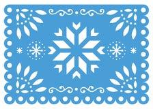 Progettazione di vettore di Papel Picado di Natale con il modello blu e bianco di carta del fiocco di neve, delle decorazioni di  illustrazione vettoriale