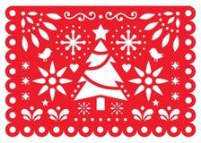 Progettazione di vettore di Papel Picado di Natale, modello rosso e bianco di carta delle decorazioni di natale del messicano, 5x illustrazione di stock