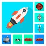 Progettazione di vettore di scienza e del simbolo cosmico Raccolta dell'illustrazione di riserva di vettore di scienza e tecnolog illustrazione di stock