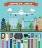 Progettazione di viaggio di Londra piana con l'aereo Immagini Stock