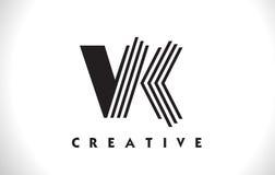 Progettazione di VK Logo Letter With Black Lines Linea vettore Illus della lettera Immagine Stock Libera da Diritti
