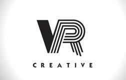 Progettazione di VR Logo Letter With Black Lines Linea vettore Illus della lettera Fotografia Stock