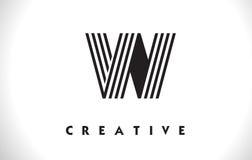Progettazione di W Logo Letter With Black Lines Linea vettore Illust della lettera Fotografie Stock Libere da Diritti